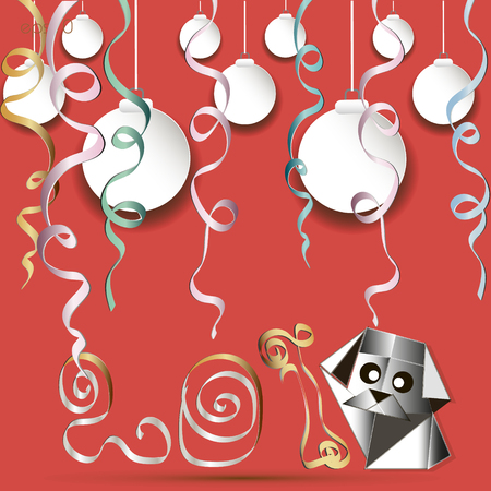 Greeting Card Year of the Dog Picture in style an object from a paper digit to a serpentine balls small doggie big eyes vector illustration Ilustrace