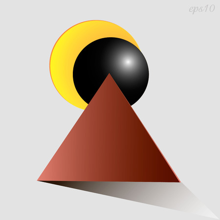 Eclipse abstraction drawing Image triangle two circles represent a solar eclipse style primitive geometry illustration vector Ilustrace