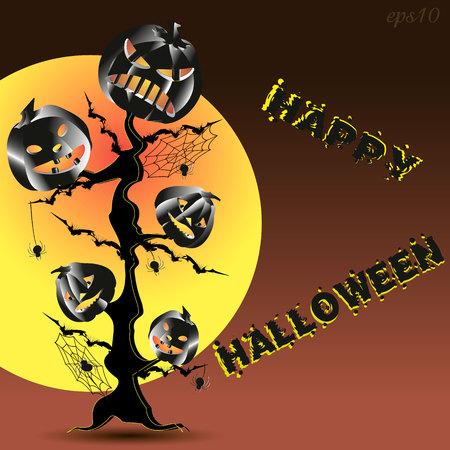 Halloween poster abstraction Drawing pumpkin tree second plan big moon night text vector illustration