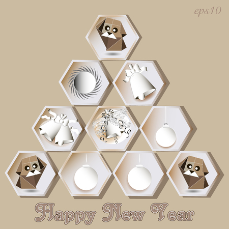 Abstraction New Year dog Greeting card fir-tree from hexagon with ornaments and congratulations