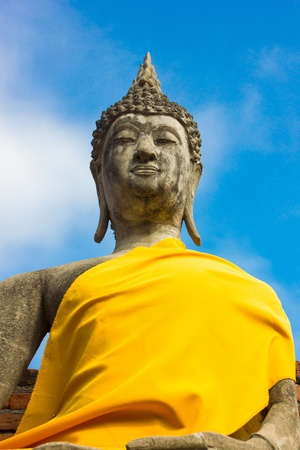scruples: Stone Ancient Buddha statue Stock Photo