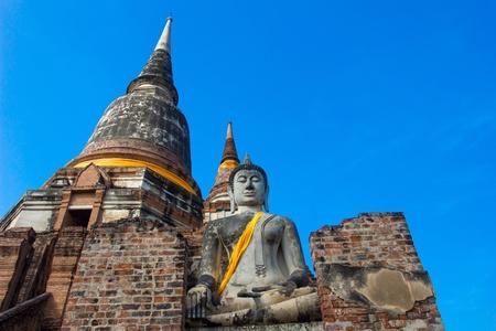 actuary: Wat Yai Chaimongkol  Temple of Ayutthaya Historical, Thailand  Stock Photo