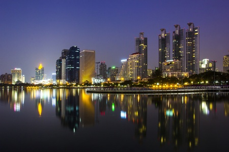 scenical: cityscape and towers with twilight  Stock Photo