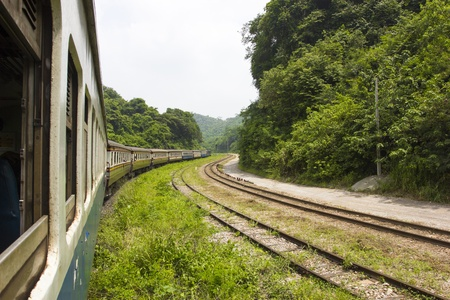 Railroad through the mountains with Forest 免版税图像