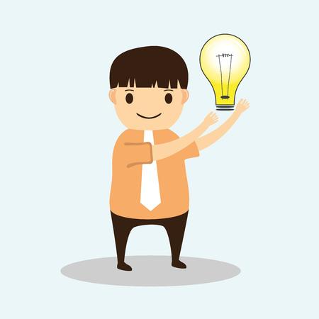 smart man: Businessman cartoon with Creative idea Illustration