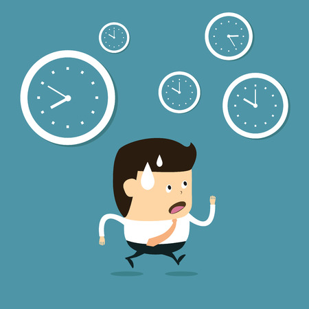 The time management, With Cartoon Businessman running Ilustração