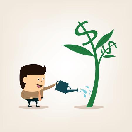 金のなる木に水をまく時に漫画実業家  イラスト・ベクター素材