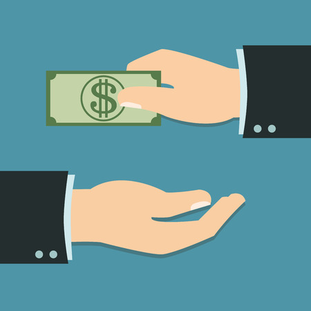 compensate: Hand of Businessman with pay concept