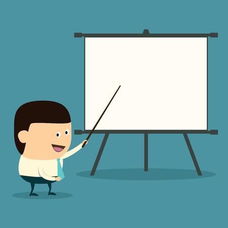 Cartoon businessman doing presentation Stock Vector - 23823867