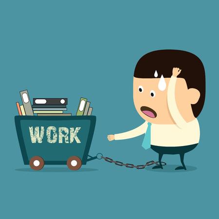 Zwoegen zakenman, overwerkte achterstand van werkconcept