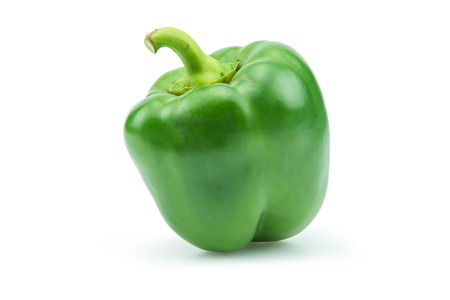 green and white: Paprika pepper isolated on white background Stock Photo