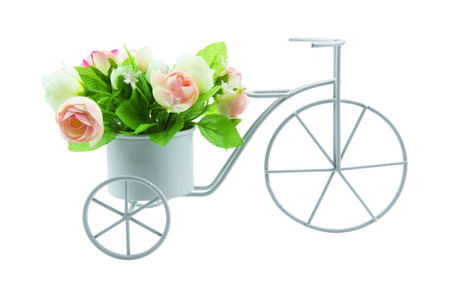 tricycle: Simulation tricycle with bouquet flower. isolated on white background