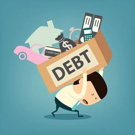 pathetic: Cartoon businessman shoulder debt box