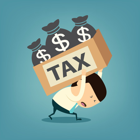 financial symbols: Cartoon businessman shoulder tax box Illustration