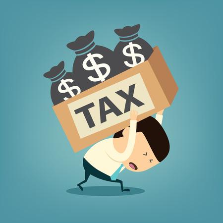 Cartoon businessman shoulder tax box Illustration