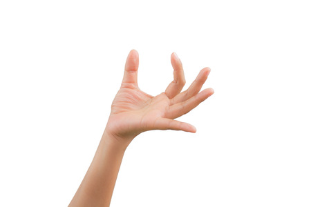 human palm: Woman handful of posture, isolated on white background