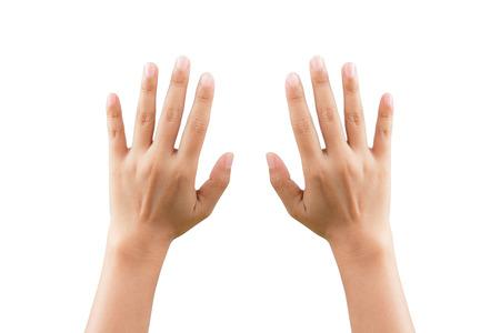 backhand: Demostraci�n de la mujer de rev�s de la postura, aislado en fondo blanco