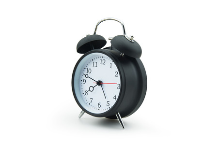 Alarm clock isolated with shadow on white background