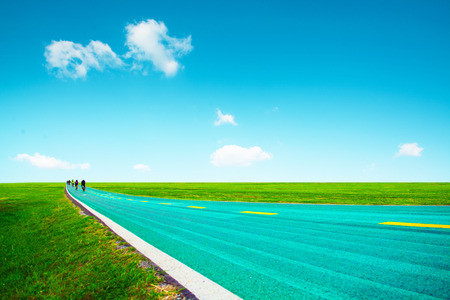 Bike road with blue sky cloud