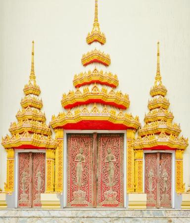 door of Buddha church at the Thai temple