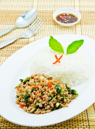 Thai food in fresh with rice on white dish photo