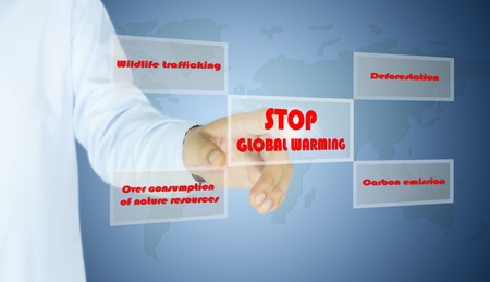 stop global warming: hand of man who is press button stop global warming