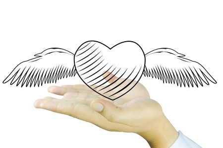 Heart e angel wing on Human hand photo