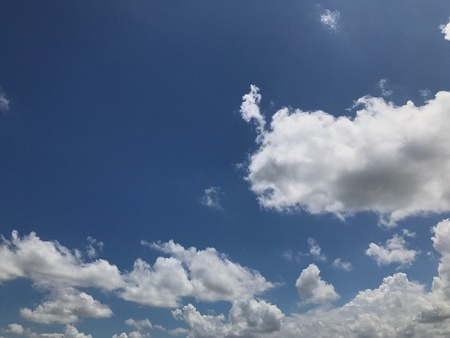 Blue sky and white cloud background in sun daylight