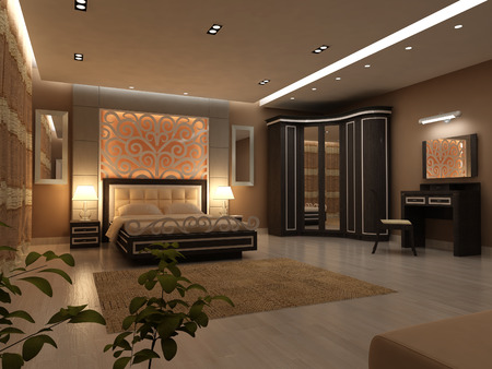 home lighting: Interior design of big modern Bedroom in artificial lighting Stock Photo