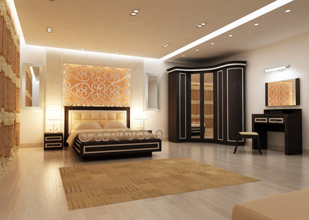 Interior design of big modern Bedroom in artificial lighting. 3D rendering Фото со стока