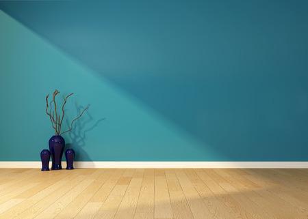 vide intérieur avec un mur bleu et le vase