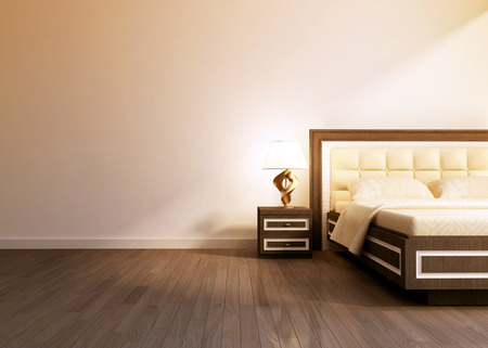bad: Modern interior room with king size bad.  3D rendering