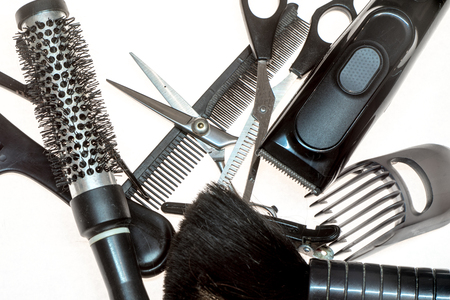 haircutting: haircut accessories isolated on white background Stock Photo