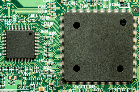 printed electronic circuit board with microprocessor and components
