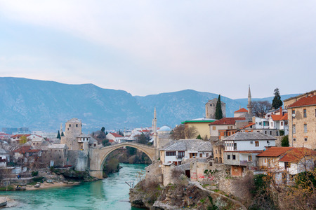 old bridge in Mostar Bosnia and Herzegovina Stock Photo