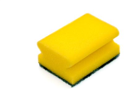 Dish washing sponge, felt horizontally and isolated on white background