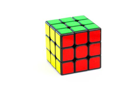 Sarajevo, Bosnia and Herzegovina- February 24, 2018 : Solved Rubik's cube isolated on the white background. Standard-Bild - 142583245