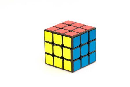 Sarajevo, Bosnia and Herzegovina- February 24, 2018 : Solved Rubik's cube isolated on the white background.