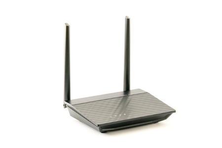 Black Wireless internet network  Router with two antenna isolated on white background. With clipping path. Design element.