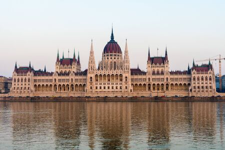 Parliament building in Budapest Hungary on Danube river. famous tourist place.