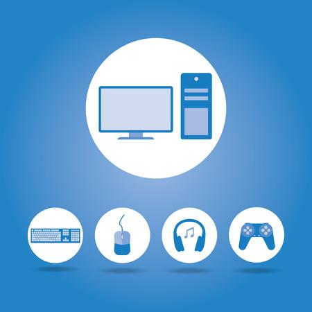 gamer: Computer concept , Gamer icon Stock Photo