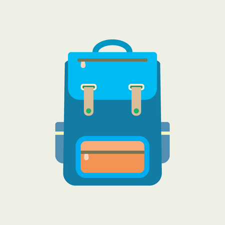 backpack school: Backpack icon. Flat design