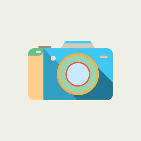 Cute Camera icon. Flat design photo