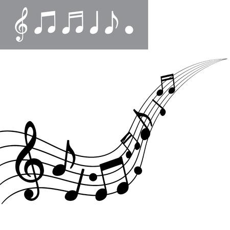 nota musical: Notas musicales sobre la escala. Nota de la música conjunto de iconos. Ilustración vectorial Foto de archivo