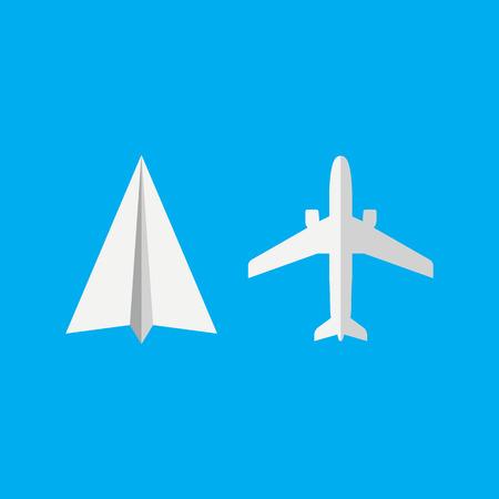Plane and Paper plane icon. Vector illustration