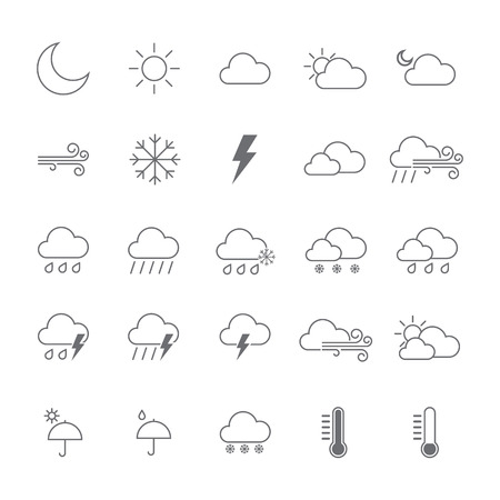 Set di icone meteo. illustrazione vettoriale isolato