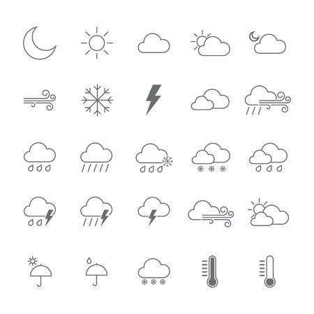 Zestaw ikon pogody. na białym tle ilustracja wektorowa