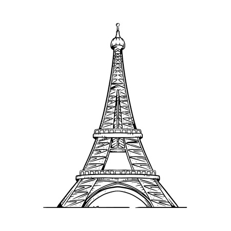 Eiffel Tower vector illustration. Eiffel Tower line drawing