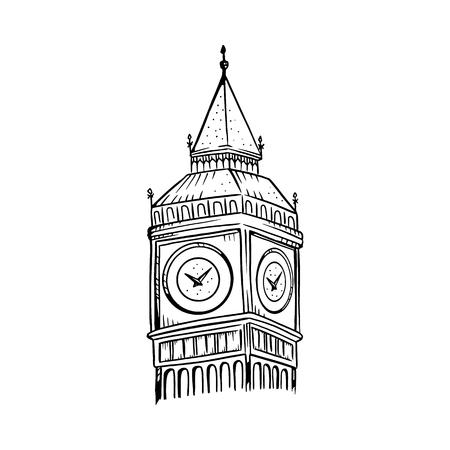 Big Ben vector illustration. Big Ben line drawing