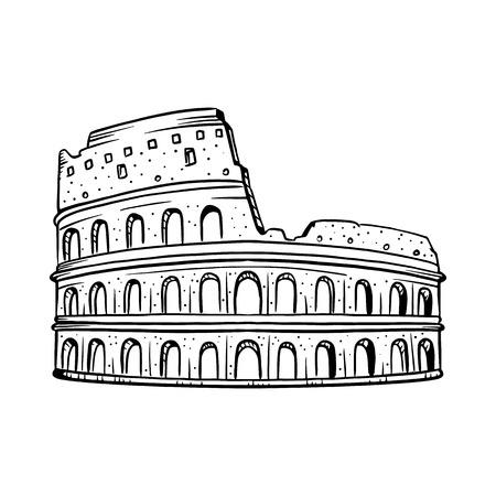 Colosseum vector illustration. Colosseum line drawing Illustration